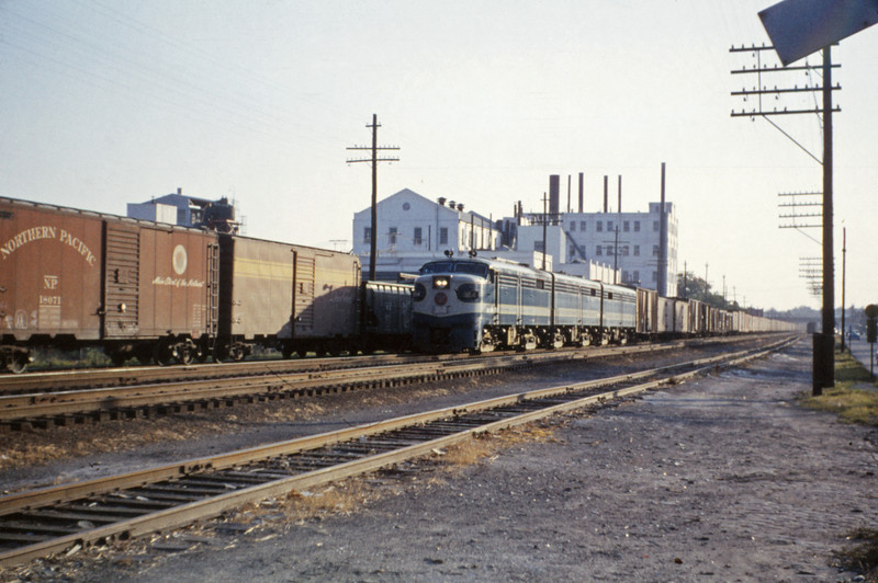 Mopac 124 - Jul 1 1955 - Alco GE freight at Macklind Ave St Louis MO