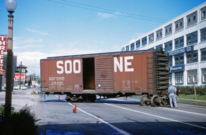 Mopac 34 - Oct 15 1954 - Sooline boxcar in 3400 block of Kingshighway St Louis MO