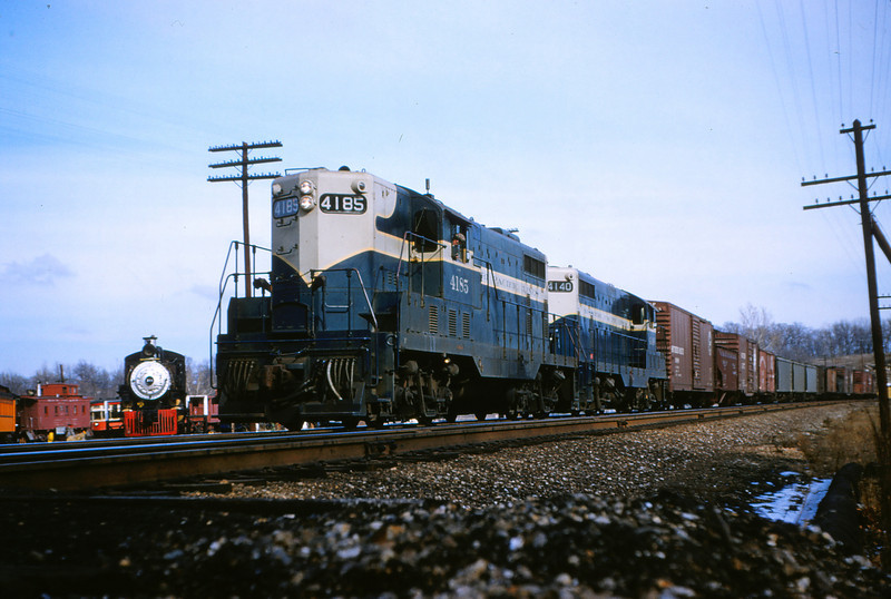 Mopac 82 - Jan 20 1955 - EMD GP-7's No  4185 & 4140 @ Barretts MO Train 91