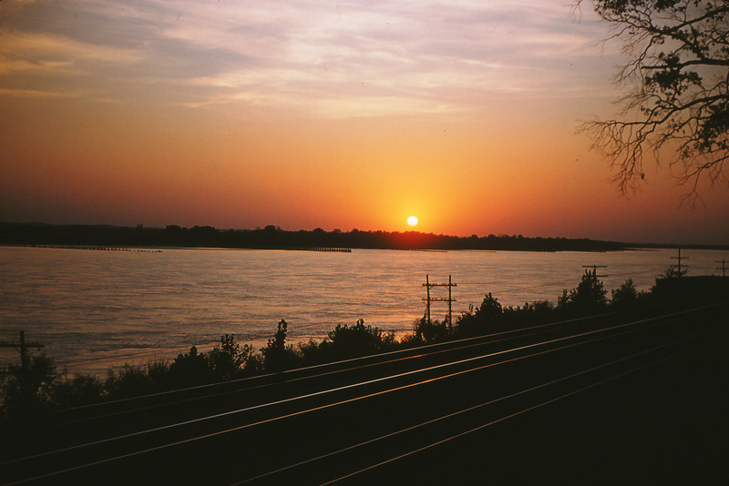 Mopac 25 - Sep 4 1954 - Sunset over mopac @ mississippi river south of Chester Ill