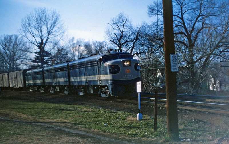 Mopac 75 - Dec 9 1954 - Alco -Ge No 379 at Rock Hill Road - Webster Groves MO