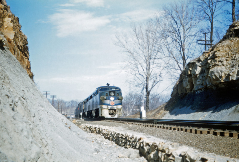 Mopac 162 - Mar 10 1957 - No 15 eng 8035 + A westbound at mp 16-35 west - MO