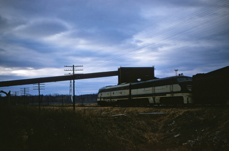 Mopac 68 - Nov 25 1954 - train on No 25 approaching Meraence River on south line MO