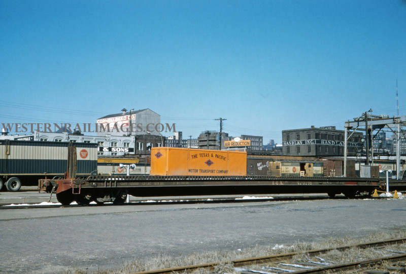MOPAC 180 - Feb 11 1958 - TTX car 470718 at piggyback ramp on riverfront - St Louis MO