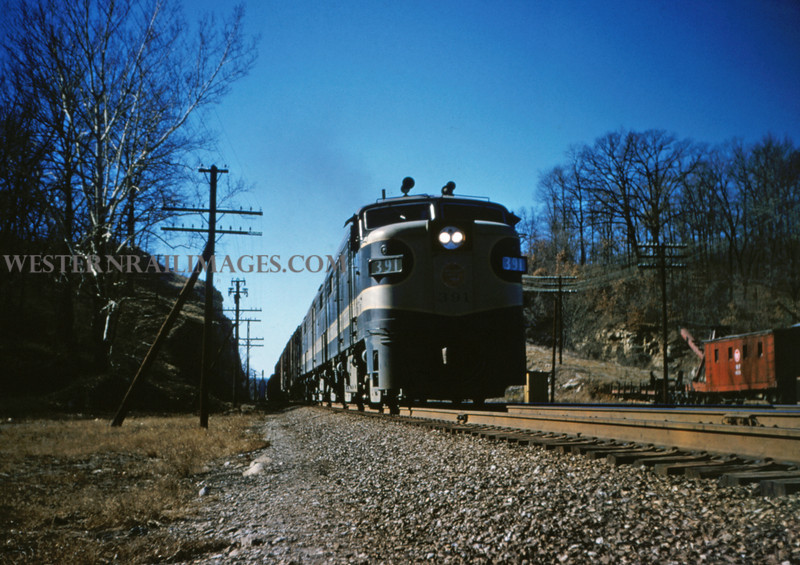 MOPAC 84 - Jan 25 1955 - Alco GE No 391 & consist upgrade at Barretts MO