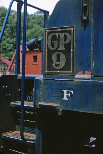 Mopac 119 - Jun 27 1955 - sign on GP-9 No 4332 at Barretts MO