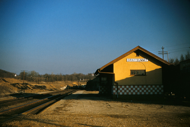 Mopac 92 - Feb 17 1955 - station at Gray Summit MO