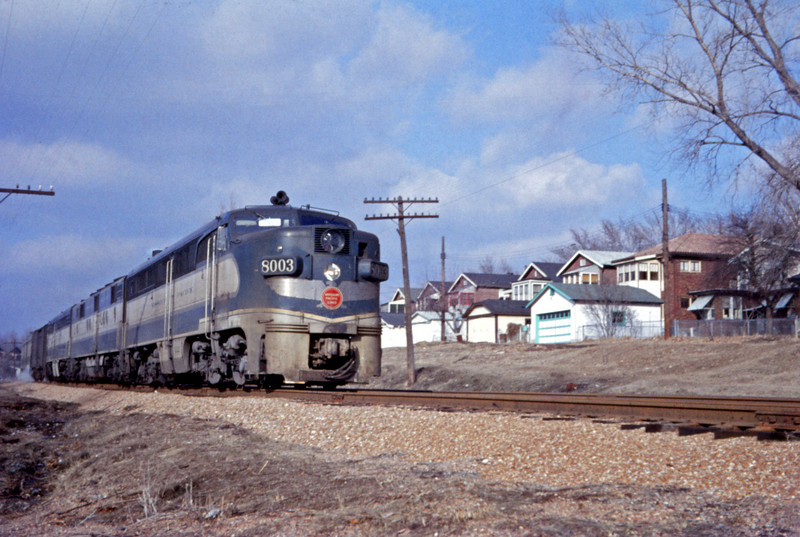 Mopac 177 - Jan 21 1958 - Alco GE 8003 on No 25 sb at Iron St - St Louis MO