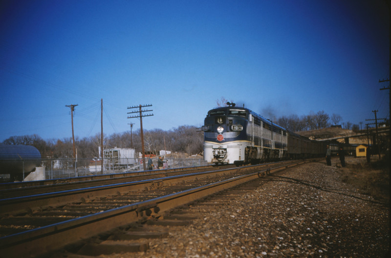Mopac 81 - Dec 31 1954 - Alco GE no 8019 westbound No 15 - Barretts MO