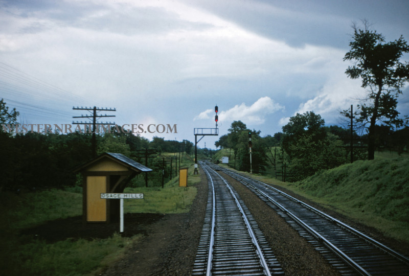 MOPAC 135 - May 15 1956 - looking east at Osage Hills from train 35 - MO