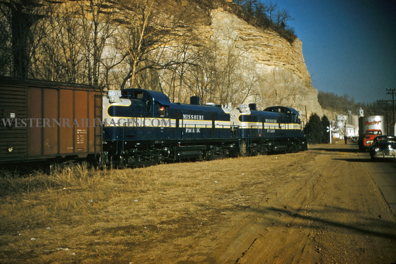 MOPAC 88 - Feb 17 1955 - Alco GE road switchers No 4511 & 4508 at Pacific MO