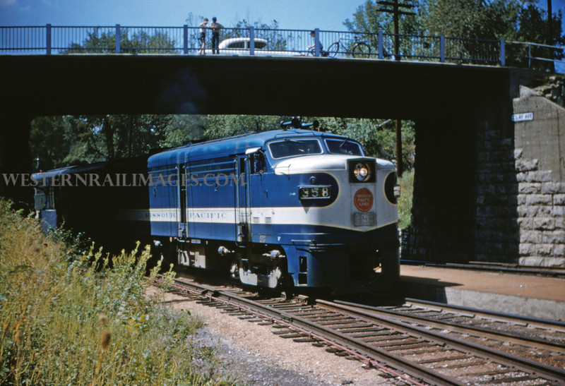 Mopac 12 - Aug 30 1954 - Alco GE No 358 train at Clay Ave bridge - Kirkwood MO