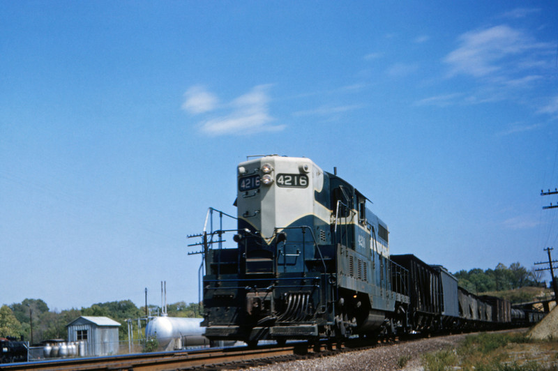MOPAC 1 - Sep 17 1953 - EMD GP-7 No 4216 on train 91 @ Barretts MO