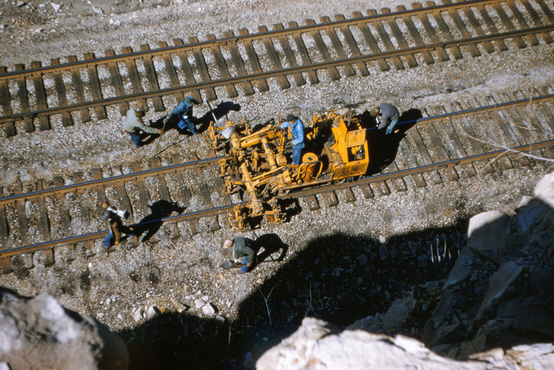 Mopac 94 - Mar 7 1955 - Track Ballasting machine in west Barretts cut MO