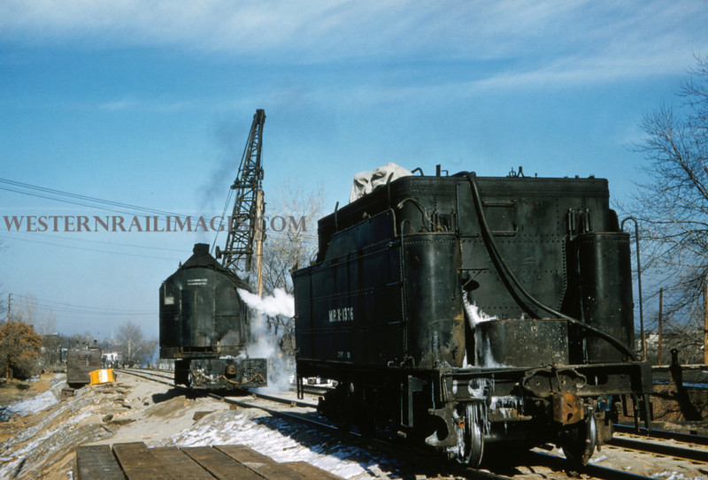 MOPAC 187 - Feb 13 1958 - Tender X1376 & Steam pile driver x1032 at southwest Ave - St Louis MO