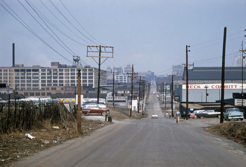 Mopac 192 - Mar 31 1958 - looking north on spring toward Mill Creek Valley St Louis MO