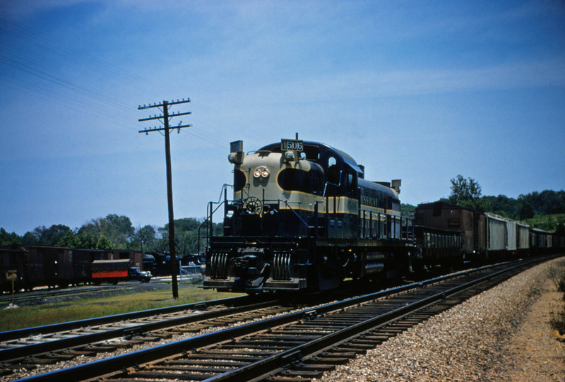 Mopac 113 - Jun 2 1955 - Alco GE road switcher 4506 on train 91 at Barretts MO