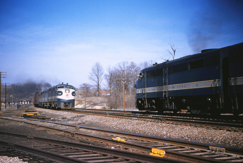 Mopac 102 - Mar 30 1955 - Alco GE freights no 341 @ Barretts MO