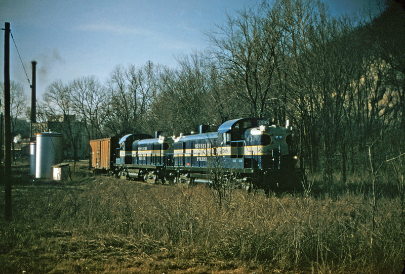 Mopac 90 - Feb 17 1955 - Alco GE road switchers 4508 & 4511 - Pacific MO