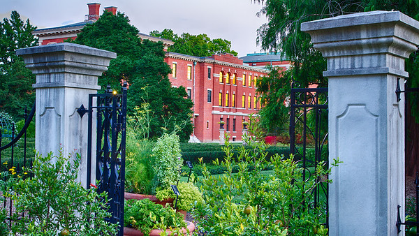 Research building through garden gates, Missouri Botanical Garden