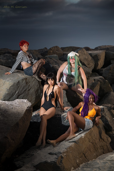 Lena S Leal, Nadine Nightmare Cosplay, Yukiko Ryuichi, and Emani Virginia Small at Mission Beach.