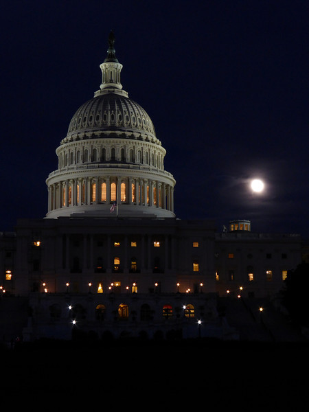 Moonlight over the Capital Building, Washington, DC