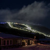 Men and woman down hill course  in Åre, Sweden in the evening