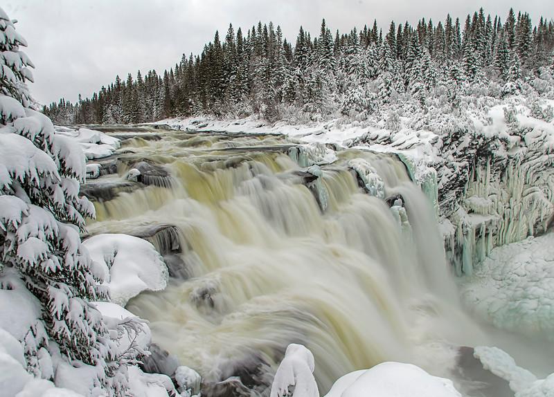 Swedens biggest waterfall , Tännforsen, west of  the village Åre