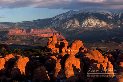 Fiery Furnace and La Sal Mountains-Sunset 2 Arches National Park near Moab, Utah