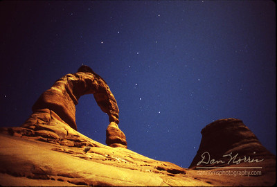 Delicate Arch and the Big Dipper Arches National Park near Moab, Utah 25 second exposure with full moon on ISO 400 film