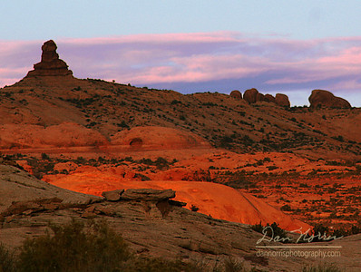 Sunset glow Arches National Park near Moab, Utah