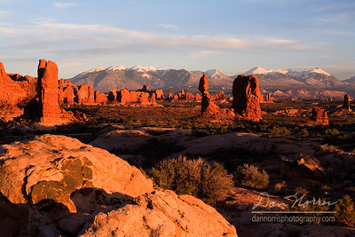 Balanced Rock and La Sal Mountains wide view Arches National Park near Moab, Utah