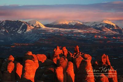 Fiery Furnace and La Sal Mountains-Sunset Arches National Park near Moab, Utah