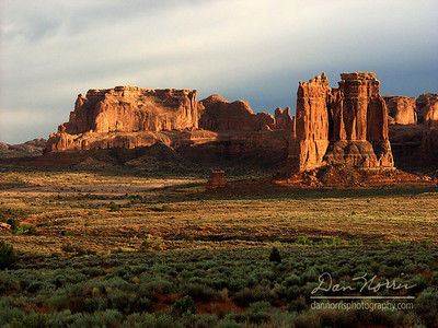 Courthouse Towers at Sunset Arches National Park near Moab, Utah