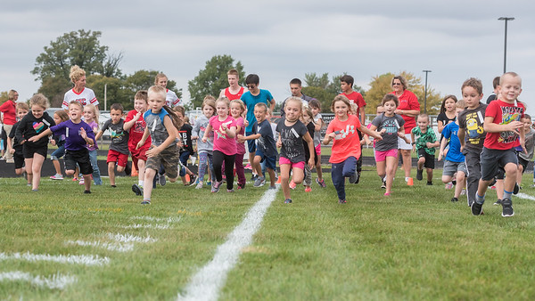 And they're off! The kindergarten students get off to a fine start as they participate in the 38th annual Lewis Cass Fun Run held at Lewis Cass High School on Thursday afternoon. Each elementary school class from kindergarten to fifth grade ran their own race.  Fran Ruchalski | Pharos-Tribune
