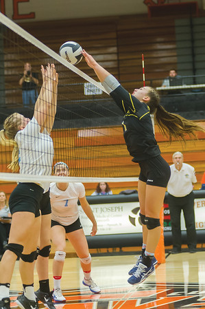 Pioneer's Mackenzie Campbell (11) tucks a shot across the net in the first set. Pioneer defeated Lakewood Park Christian in 3 sets to win the Volleyball Regionals on Saturday October 21, 2017 at Culver Community High School. Fran Ruchalski   Pharos-Tribune