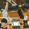 Pioneer's Mackenzie Campbell (11) tucks a shot across the net in the first set. Pioneer defeated Lakewood Park Christian in 3 sets to win the Volleyball Regionals on Saturday October 21, 2017 at Culver Community High School. Fran Ruchalski | Pharos-Tribune