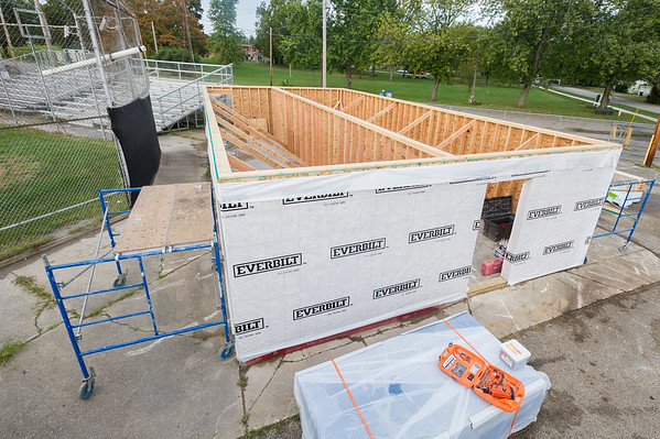 At the beginning of work on the press box at the baseball field at  Fairview Park on Saturday morning, the first floor is framed out and ready for the all-volunteer work force to install  the floor joists and sub-floor for the second floor. Fran Ruchalski | Pharos-Tribune