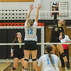 Pioneer's Maci Morris (15) slams a shot across the net in the third set. Pioneer defeated Lakewood Park Christian in 3 sets to win the Volleyball Regionals on Saturday October 21, 2017 at Culver Community High School. Fran Ruchalski | Pharos-Tribune