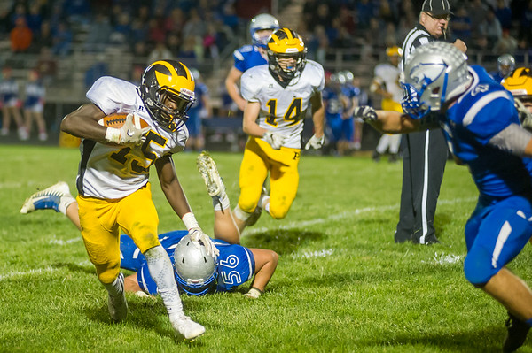 Panther defensive back Addai Lewellen (15) runs back an interception for Pioneer in the second quarter in their 55-21 victory over Carroll on Friday night. Fran Ruchalski | Pharos-Tribune