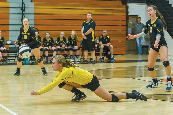 Pioneer's Haley Gleitz (31) dives to redirect the ball in the third set. Pioneer defeated Lakewood Park Christian in 3 sets to win the Volleyball Regionals on Saturday October 21, 2017 at Culver Community High School. Fran Ruchalski | Pharos-Tribune