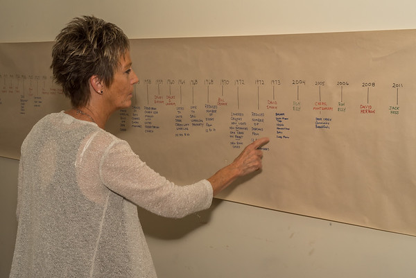 Gretchen Crum points out a significant event on the church's historic timeline posted in the library of the church as Deer Creek Presbyterian church celebrated its 175th anniversary on Sunday, Sept. 25, 2017 with a service and dinner for all in attendance. Fran Ruchalski  Pharos-Tribune