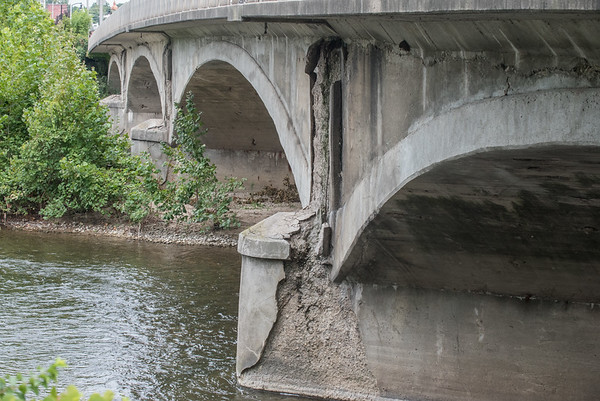 Structural damage is evident on the north side of the Market Street Bridge that crosses over the Eel River in downtown Logansport. The bridge is high on the state list for renovation. Fran Ruchalski | Pharos-Tribune