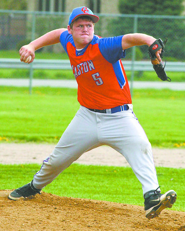 Caston senior pitcher Cory Moss delivers to the plate versus Pioneer in Midwest Conference action Friday in Royal Center.