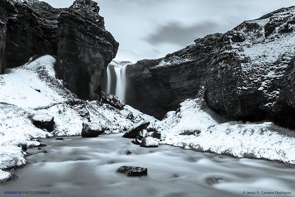 The Romantic Kvernufoss Waterfall