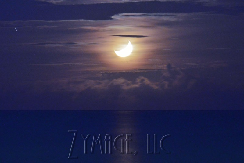 Crescent Moon setting over the Gulf of Mexico.
