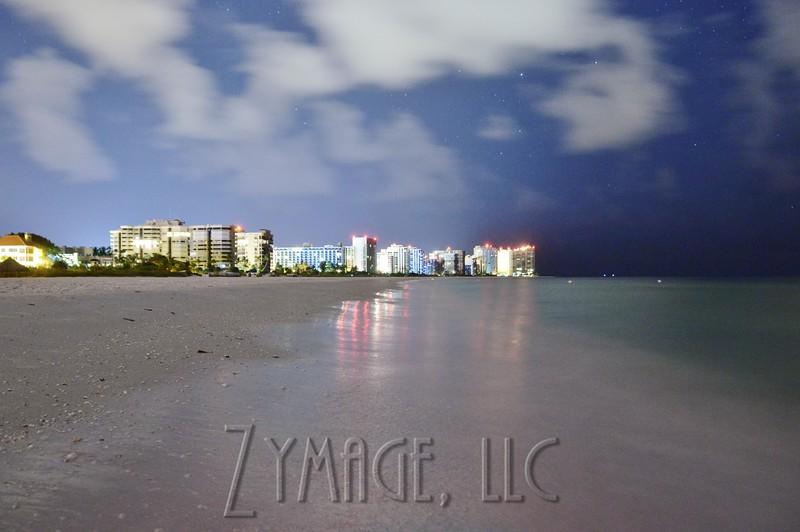Looking south: High rise hotels and condos along the Marco Island Beach.