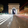 ARC DE TRAFIC - Paris, France<br /> <br /> Here's a long exposure composite shot of the Arc de Triomphe taken on a night in Paris.  Note that this is probably not the safest spot to hang out and take pictures.