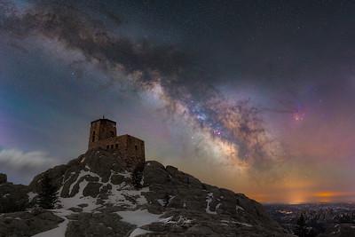 Black Elk Peak and the Milky Way.
