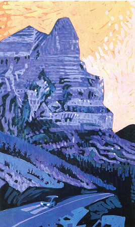 """Going-to-the-Sun Mountain"" Gouache on acid-free Chip Board"